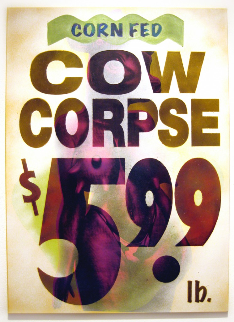 Ron  English -  <strong>Cow Corpse</strong> (2012<strong style = 'color:#635a27'></strong>)<bR /> silkscreen ink, synthetic polymer and spraypaint on canvas,   37 x 26 inches  (93.98 x 66 cm)
