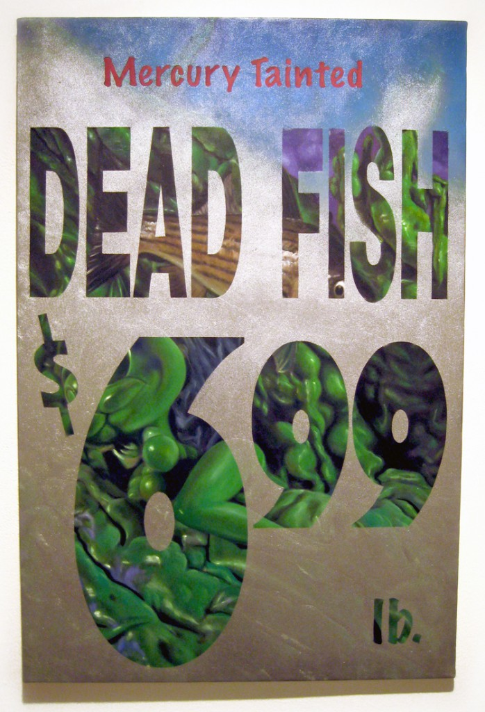 Ron  English -  <strong>Dead Fish</strong> (2012<strong style = 'color:#635a27'></strong>)<bR /> oil and spraypaint on canvas,   36 x 24 inches  (91.44 x 60.96 cm)
