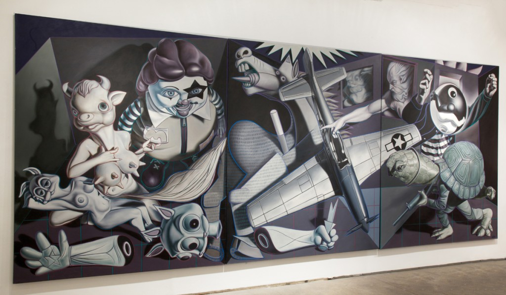 Ron  English -  <strong>Guernica Trilogy</strong> (2008<strong style = 'color:#635a27'></strong>)<bR /> oil on canvas,   88 x 74 inches, each panel  (187.96 x 223.53 cm),   88 x 222 inches, total