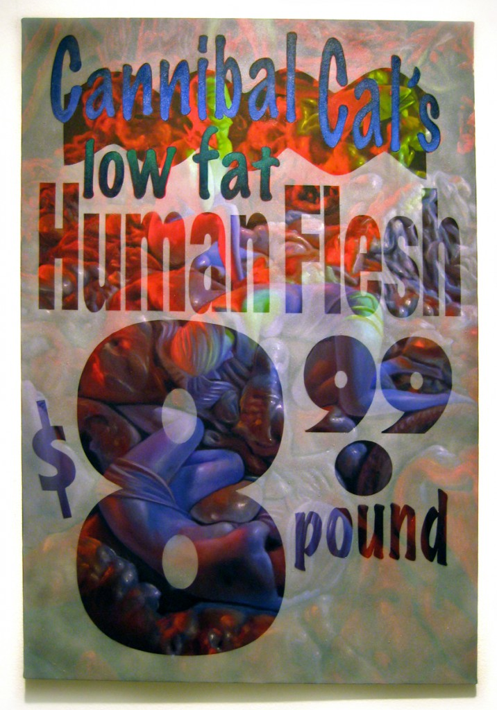 Ron  English -  <strong>Human Flesh</strong> (2012<strong style = 'color:#635a27'></strong>)<bR /> oil and spraypaint on canvas,   36 x 24 inches  (91.44 x 60.96 cm)