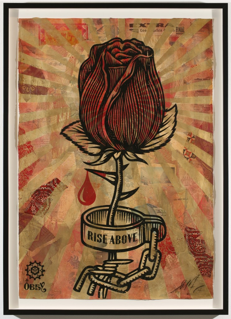 Shepard Fairey -  <strong>Rose Shackle</strong> (2007<strong style = 'color:#635a27'></strong>)<bR /> silkscreen and stencil collage on paper 30 x 44 inches