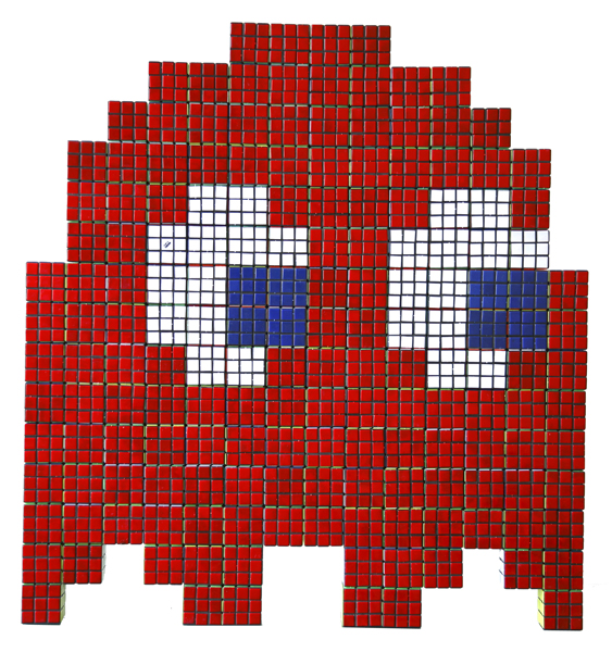 Invader  &nbsp -  <strong>Red Rubik Phantom</strong> (2007<strong style = 'color:#635a27'></strong>)<bR /> Rubik cubes on Plexiglass Panel,   31 x 33 inches