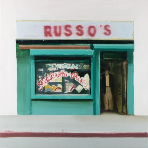 Brett Amory -  <strong>Russo's (Waiting #253)</strong> (2015<strong style = 'color:#635a27'></strong>)<bR /> oil on wood panel,   20 x 20 inches  (50.8 x 50.8 cm)
