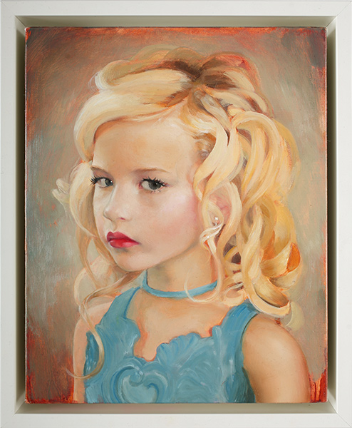 Gretchen  Ryan -  <strong>Self Portrait as a Different Girl</strong> (2009<strong style = 'color:#635a27'></strong>)<bR /> oil on linen over panel,   10 x 8 in. (25.4 x 20.3 cm),   11 3/8 x 9 3/8 in. (28.9 x 23.8 cm) framed