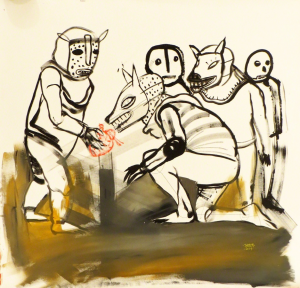 Saner   -  <strong>The Temptation</strong> (2014<strong style = 'color:#635a27'></strong>)<bR /> acrylic on canvas,   39 x 39 inches  (99 x 99 cm)