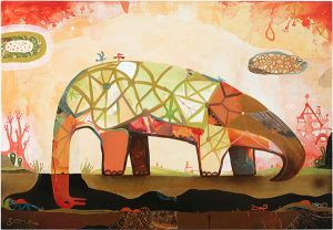 Souther  Salazar -  <strong>Buried Head</strong> (2009<strong style = 'color:#635a27'></strong>)<bR /> mixed media on wood panel,   24 x 36 inches