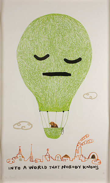 Souther  Salazar -  <strong>Into a World That Nobody Knows</strong> (2009<strong style = 'color:#635a27'></strong>)<bR /> crayon, collage and ink on paper,   image size: 50 x 30 inches,   framed size: 53 5/8 x 33 5/8 inches