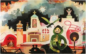 Souther  Salazar -  <strong>Thieves in the Night</strong> (2009<strong style = 'color:#635a27'></strong>)<bR /> mixed media on wood panel,   30 x 48 inches