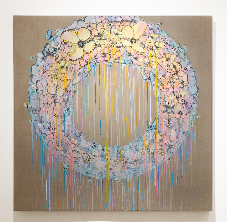 Sage  Vaughn -  <strong>Ring Cycle (Agonal Hours of the Day)</strong> (2014<strong style = 'color:#635a27'></strong>)<bR /> acyrlic, ink and vellum on Belgian linen,   48 x 48 inches  (121.92 x 121.92 cm)
