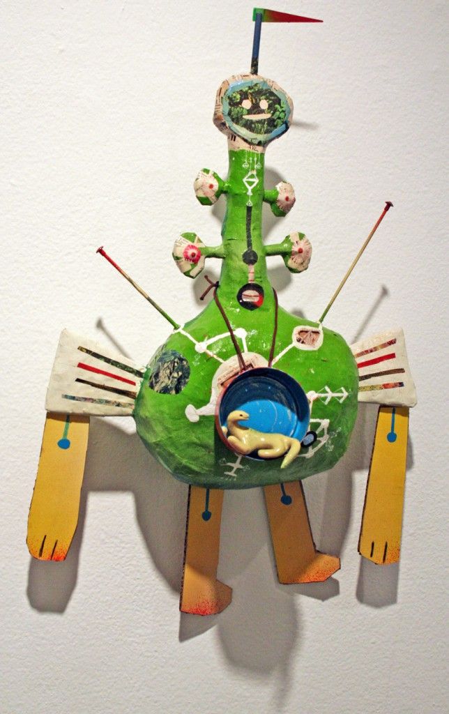 Souther  Salazar -  <strong>Best Buddy</strong> (2011<strong style = 'color:#635a27'></strong>)<bR /> acrylic, paper maché, polymer clay and found materials,   24.5 x 14.5 x 7.5 inches  (62.23 x 36.83 x 19 cm)