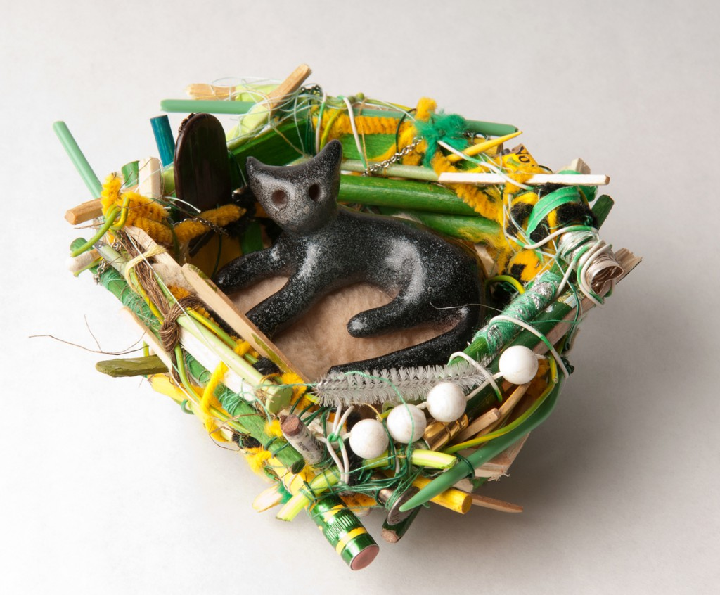 Souther  Salazar -  <strong>Cat Nest</strong> (2011<strong style = 'color:#635a27'></strong>)<bR /> polymer clay, fabric, wire, thread and found materials,   5 x 5 x 2.5 inches   (12.7 x 12.7 x 6.35 cm)