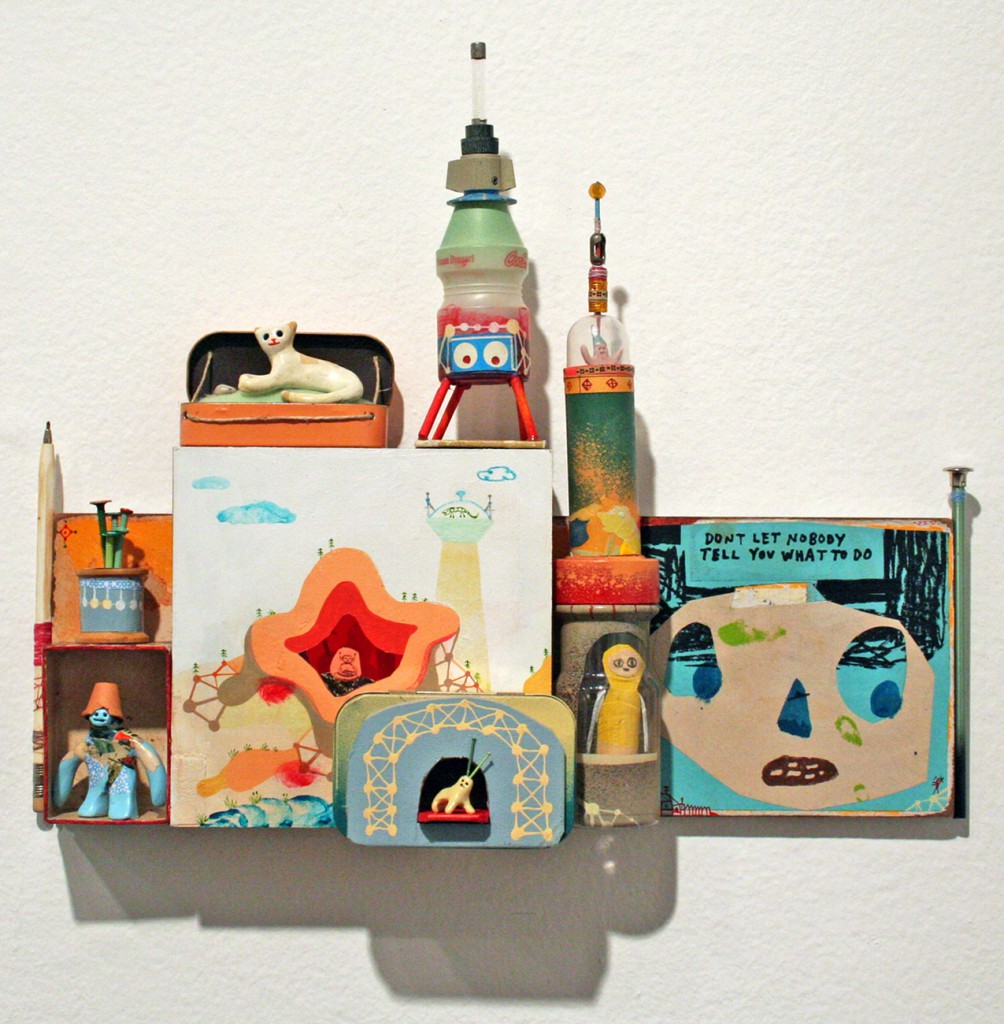 Souther  Salazar -  <strong>Don't Let Nobody Tell You What to Do</strong> (2011<strong style = 'color:#635a27'></strong>)<bR /> acrylic, ink, crayon, collage, wood, polymer clay and found materials on wood panel,   11 x 15.5 x 3.5 inches  (27.9 x 38.1 x 8.9 cm)
