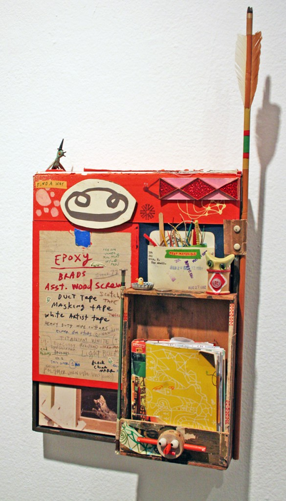 Souther  Salazar -  <strong>Find a Way</strong> (2011<strong style = 'color:#635a27'></strong>)<bR /> acrylic, ink, crayon, collage, wood, polymer clay and found materials on wood panel,   22.75 x 11.625 x 3.875 inches  (57.78 x 29.53 x 9.84 cm)