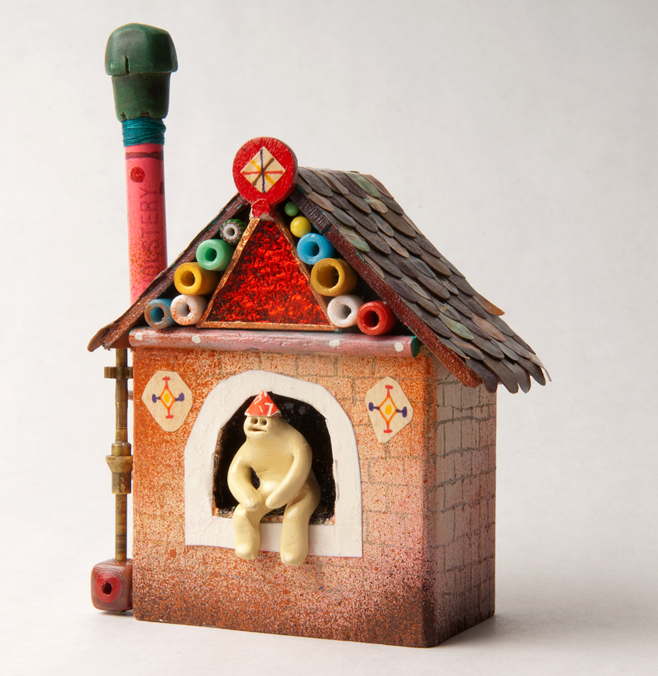 Souther  Salazar -  <strong>House for Calder</strong> (2011<strong style = 'color:#635a27'></strong>)<bR /> wood, polymer clay and found materials,   4.75 x 3.5 x 2 inches   (12 x 8.89 x 5 cm)