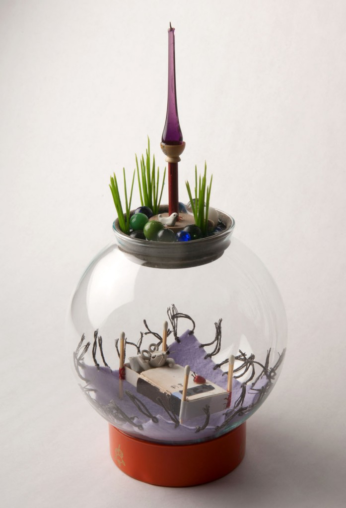 Souther  Salazar -  <strong>Little Dream</strong> (2011<strong style = 'color:#635a27'></strong>)<bR /> polymer clay, fabric, glass, resin and found materials,   12.5 x 6 x 6 x inches   (31.75 x 15.24 x 15.24 cm)