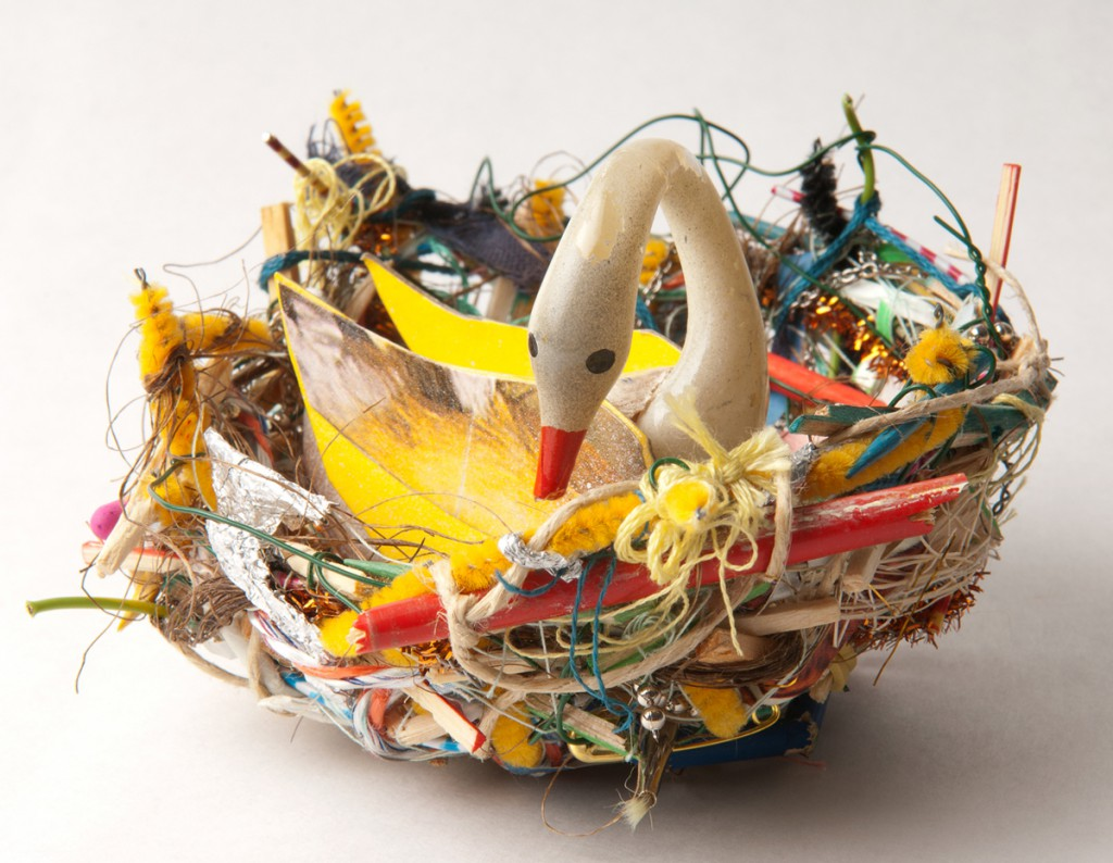 Souther  Salazar -  <strong>Swan Nest</strong> (2011<strong style = 'color:#635a27'></strong>)<bR /> polymer clay, wire, thread and found materials,   4.5 x 4 x 2 inches   (11.43 x 10.16 x 5 cm)