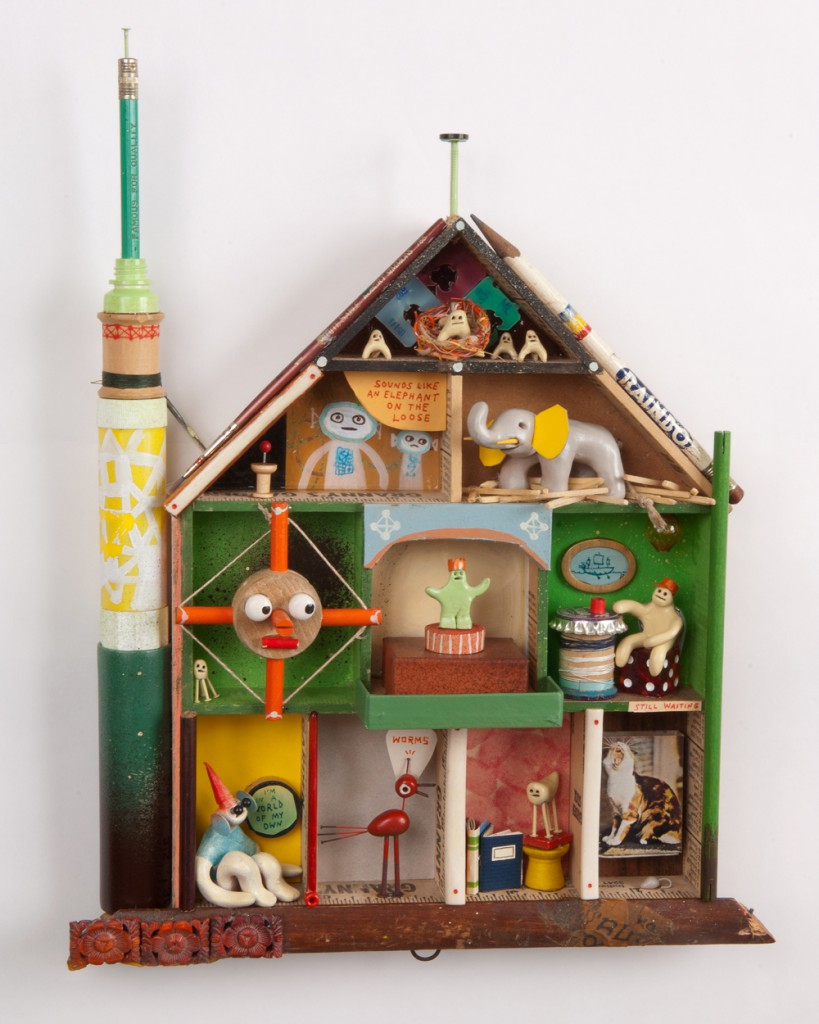 Souther  Salazar -  <strong>Ten Story Building</strong> (2011<strong style = 'color:#635a27'></strong>)<bR /> wood, polymer clay and found materials,   14 x 11 x 1.5 inches   (35.56 x 27.94 x 3.81 cm)