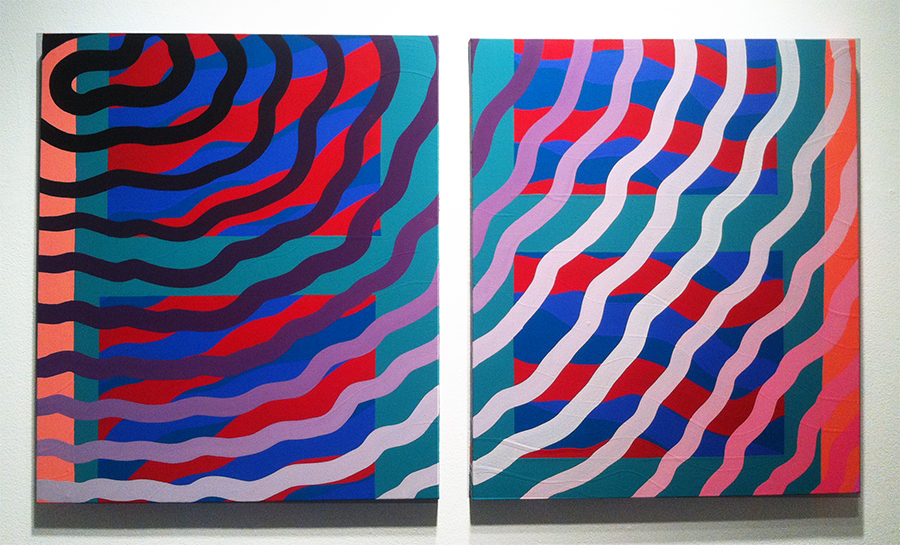Sam  Friedman -  <strong>Untitled</strong> (2014<strong style = 'color:#635a27'></strong>)<bR /> oil and acrylic on canvas over board,   28 x 50 inches  (71.12 x 127 cm)  each panel: 28 x 24 inches