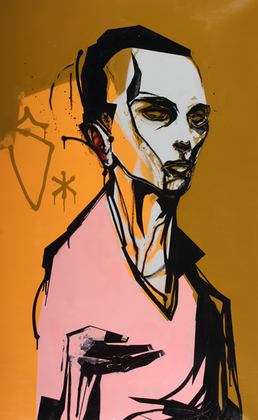 Hamilton  Yokota (Titi Freak) -  <strong>Samba Maioral</strong> (2008<strong style = 'color:#635a27'></strong>)<bR /> Spray Paint on Canvas,   55 x 41 inches, unstretched