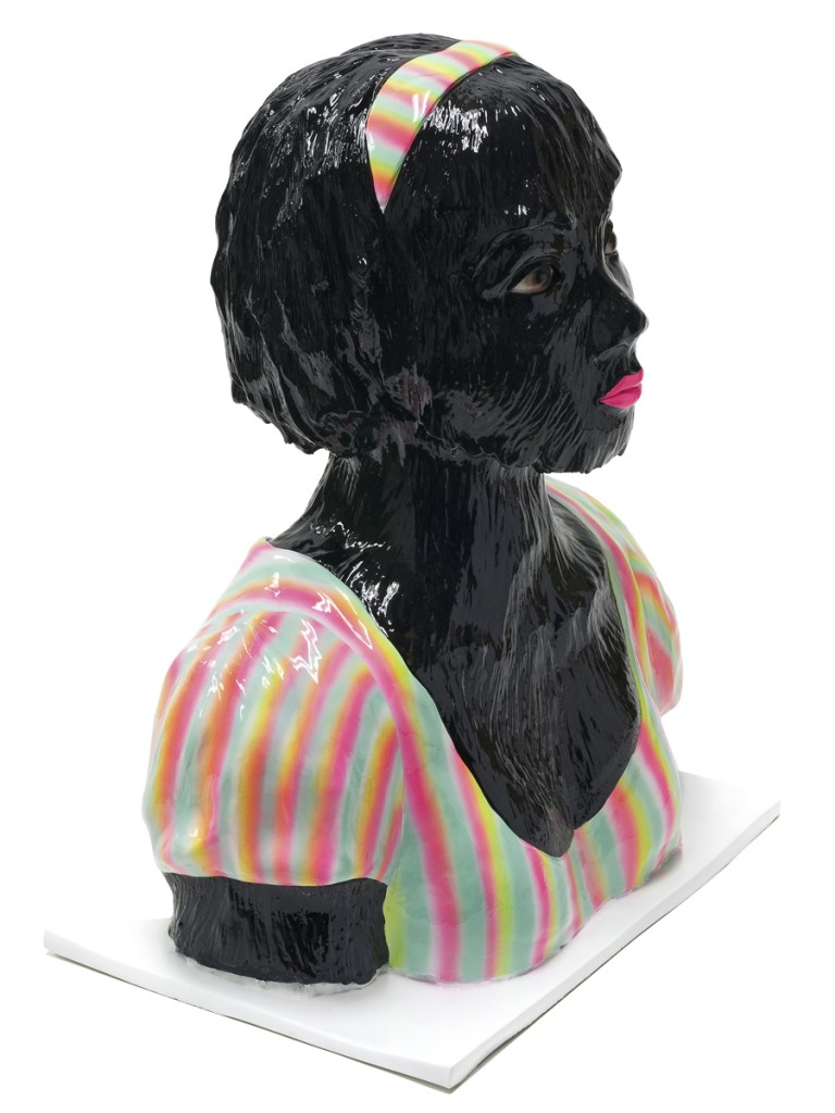 Erik Mark  Sandberg -  <strong>Girl with Summer Fever (Black)</strong> (2011<strong style = 'color:#635a27'></strong>)<bR /> Silcast II, airbrush and automotive clear coat,   18.5 x 14 x 9.25 inches   (46.99 x 35.56 x 23.5 cm),   25 lbs.