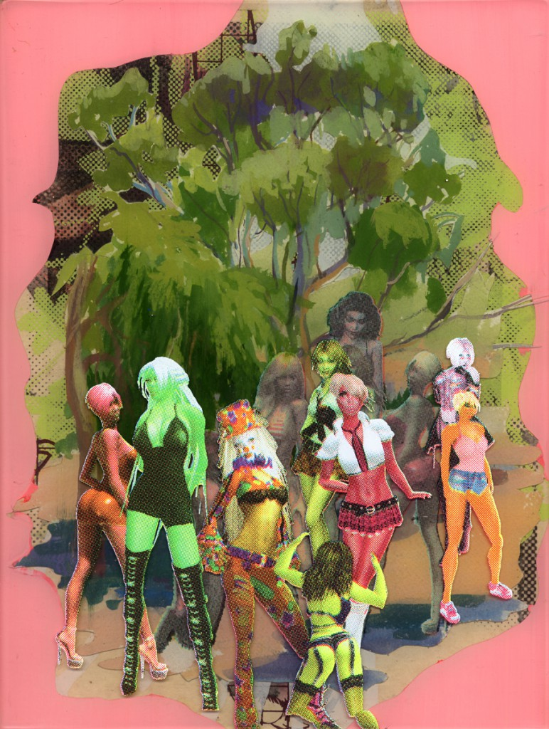 Erik Mark  Sandberg -  <strong>Golf Course with Sexy Clown Posse</strong> (2011<strong style = 'color:#635a27'></strong>)<bR /> Gouache, acrylic, resin and silkscreen on panel,   12 x 9 x 1.75 inches  (30.48 x 22.86 x 4.45 cm)