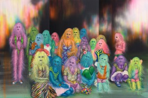 Erik Mark  Sandberg -  <strong>The Wraith</strong> (2011<strong style = 'color:#635a27'></strong>)<bR /> airbrush, acrylic, oil, glitter and silkscreen on panel,   40 x 60 x 1.75 inches, triptych   (101.6 x 152.4 x 4.45 cm), triptych,   40 x 20 x 1.75 inches, each panel  (101.6 x 50.8 x 4.45 cm), each panel