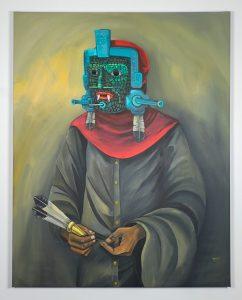 Saner   -  <strong>Espiritual Guide</strong> (2014<strong style = 'color:#635a27'></strong>)<bR /> acrylic on canvas,   58 x 46 inches  (147 x 116 cm)