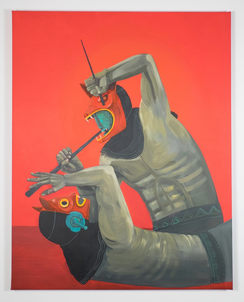 Saner     -  <strong>People vs People</strong> (2014<strong style = 'color:#635a27'></strong>)<bR /> acrylic on canvas,   58 x 46 inches  (147 x 116 cm)