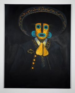 Saner   -  <strong>The Black Charro</strong> (2014<strong style = 'color:#635a27'></strong>)<bR /> acrylic and spray paint on canvas,   58 x 46 inches  (147 x 116 cm)