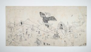 Saner   -  <strong>The Madness of a Nation</strong> (2014<strong style = 'color:#635a27'></strong>)<bR /> ink on hand-made paper,   47 x 94 inches  (119.38 x 238.76 cm)