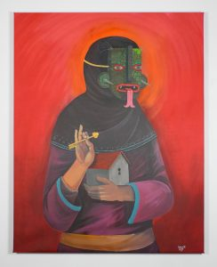 Saner     -  <strong>The Protector</strong> (2014<strong style = 'color:#635a27'></strong>)<bR /> acrylic and spray paint on canvas,   58 x 46 inches  (147 x 116 cm)