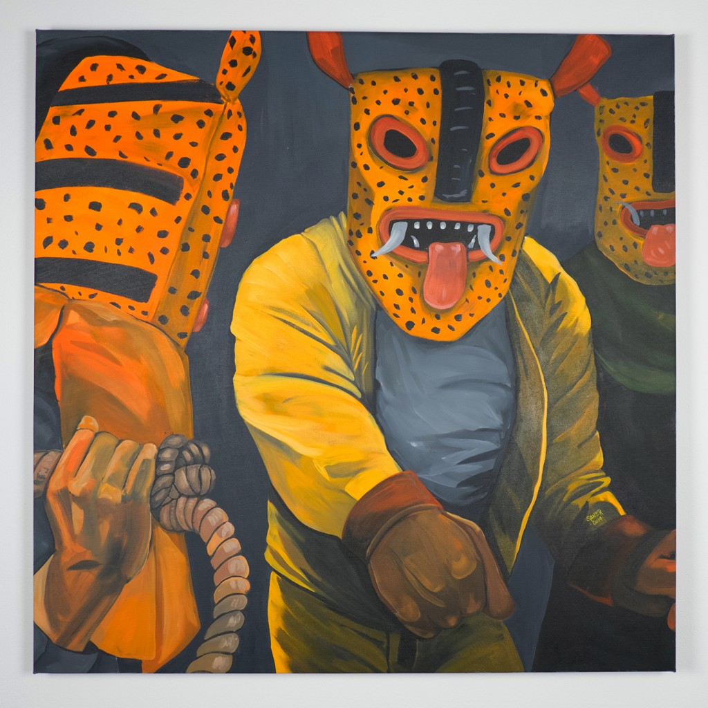 Saner     -  <strong>Warriors in Defense</strong> (2014<strong style = 'color:#635a27'></strong>)<bR /> acrylic on canvas,   39 x 39 inches  (99 x 99 cm)