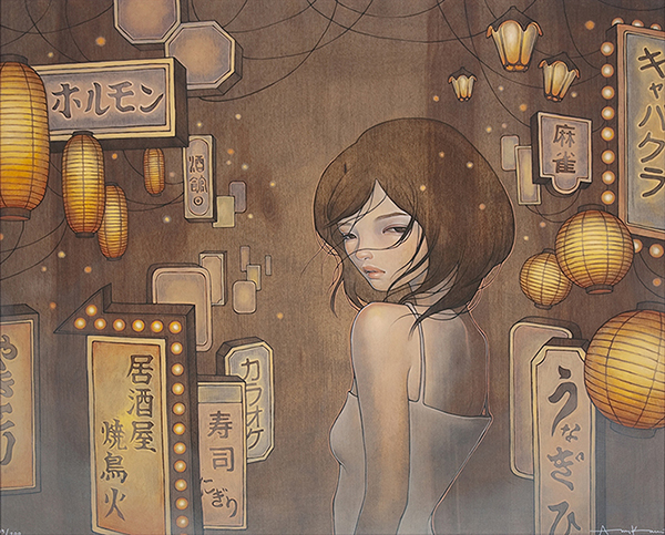 Audrey  Kawasaki -  <strong>Saying Goodbye</strong> (2009<strong style = 'color:#635a27'></strong>)<bR /> UltraChrome print on 300 gsm paper,   19 x 23 inches (48.26 x 58.42 cm)  21.875 x 25.75 inches, framed,   Edition 1 of 15, AP