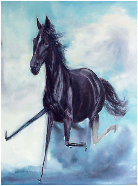 Fons  Schiedon -  <strong>An Almost Entirely Perfect Representation of a Black Horse (Running)</strong> (2009<strong style = 'color:#635a27'></strong>)<bR /> oil on canvas,   31 1/2 x 23 5/8 in. (80 x 60 cm)