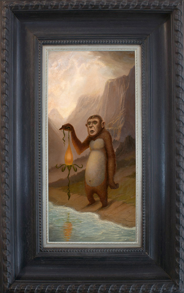 Scott  Musgrove -  <strong>The Searcher</strong> (2015<strong style = 'color:#635a27'></strong>)<bR /> oil on board,   18 x 8.5 inches  (45.72 x 21.59 cm)  27 x 17.5 inches, framed