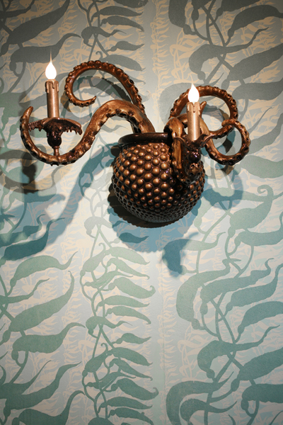 Adam  Wallacavage -  <strong>The Sea Beast Sconce (LEFT)</strong> (2008<strong style = 'color:#635a27'></strong>)<bR /> Epoxy resin coated cast plaster with lamp parts,   19 x 25 x 13 inches