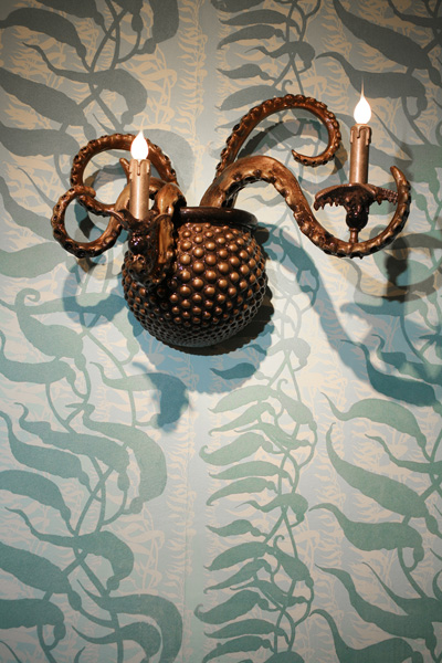 Adam  Wallacavage -  <strong>The Sea Beast Sconce (RIGHT)</strong> (2008<strong style = 'color:#635a27'></strong>)<bR /> Epoxy resin coated cast plaster with lamp parts,   19 x 25 x 13 inches