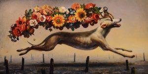 Martin Wittfooth -  <strong>Seeds</strong> (2015<strong style = 'color:#635a27'></strong>)<bR /> oil on panel,   12 x 24 inches  (30.48 x 60.96 cm)