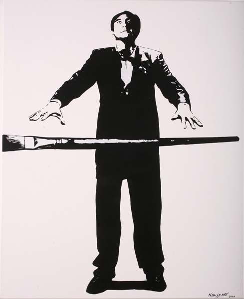Blek le Rat  &nbsp -  <strong>Self Portrait in Suit with Brush</strong> (2007<strong style = 'color:#635a27'></strong>)<bR /> Spraypaint on Canvas,   39 1/2 x 31 3/4 inches