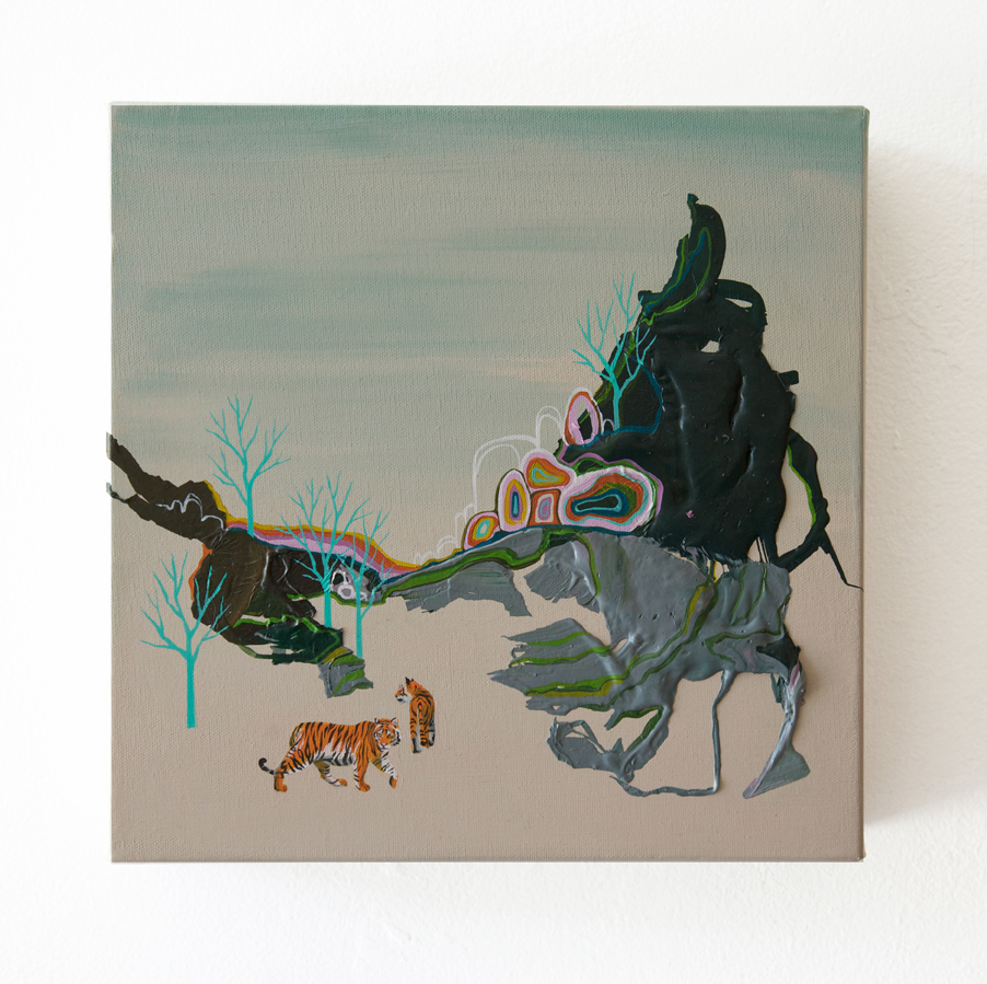 Seonna  Hong -  <strong>Hold that Tiger</strong> (2014<strong style = 'color:#635a27'></strong>)<bR /> acrylic on canvas,   12 x 12 inches  (30.48 x 30.48 cm)