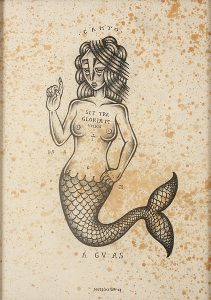 Stephan  Doitschinoff -  <strong>Sereia (Mermaid)</strong> (2008<strong style = 'color:#635a27'></strong>)<bR /> Graphite on paper,   Image size: 13 3/4 x 9 3/4 inches