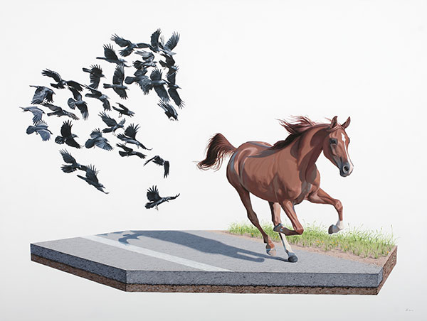 Josh  Keyes -  <strong>Shadow</strong> (2010<strong style = 'color:#635a27'></strong>)<bR /> acrylic on panel,   30 x 40 inches  (76.2 x 101.6 cm)