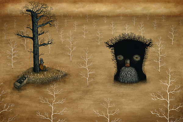 Andy  Kehoe -  <strong>Shared Solitude</strong> (2009<strong style = 'color:#635a27'></strong>)<bR /> acrylic and oil on panel,   image size: 24 x 36 inches,   framed size: 28 1/2 x 40 1/2 inches