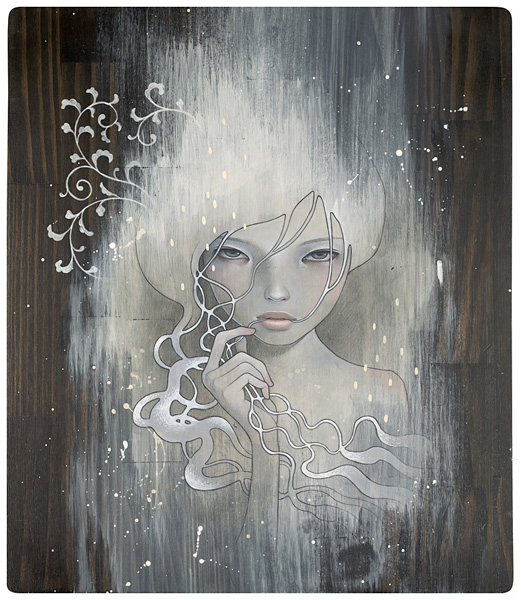 Audrey  Kawasaki -  <strong>She Who Dares</strong> (2008<strong style = 'color:#635a27'></strong>)<bR /> UltraChrome print on 300 gsm paper,   23 x 20 inches (58.42 x 50.8 cm)  25.75 x 22.75 inches, framed,   Edition 6 of 10, AP
