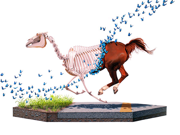 Josh  Keyes -  <strong>Shedding</strong> (2009<strong style = 'color:#635a27'></strong>)<bR /> acrylic on panel,   30 x 40 inches  (76.2 x 101.6 cm)