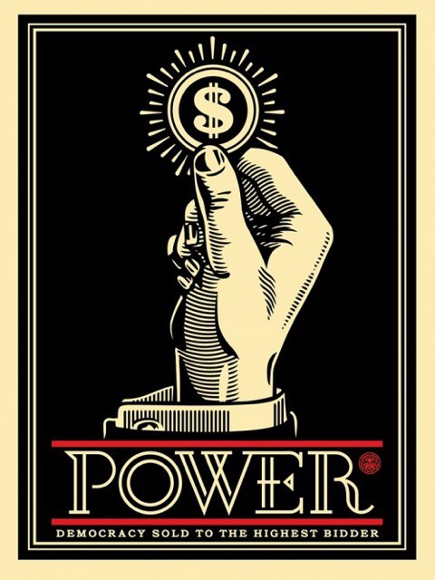 Shepard  Fairey -  <strong>Power Bidder</strong> (2015<strong style = 'color:#635a27'></strong>)<bR /> silkscreen and mixed media collage on wood,   18 x 24 inches  (45.7 x 61 cm),   HPM, edition 5 of 6