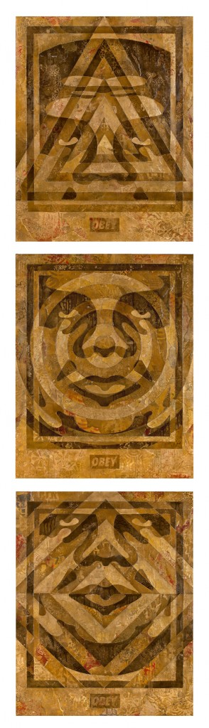 Shepard Fairey -  <strong>3 Facelcon Series (Gold)</strong> (<strong style = 'color:#635a27'></strong>)<bR />