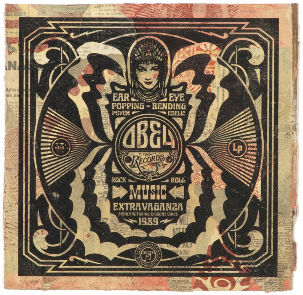 Shepard  Fairey -  <strong>Ear Popping</strong> (2011<strong style = 'color:#635a27'></strong>)<bR /> Silkscreen and mixed media collage on album cover,   12 x 12 inches  (framed size TBD),   Hand painted multiple (HPM)  Signed and numbered   Edition of 8