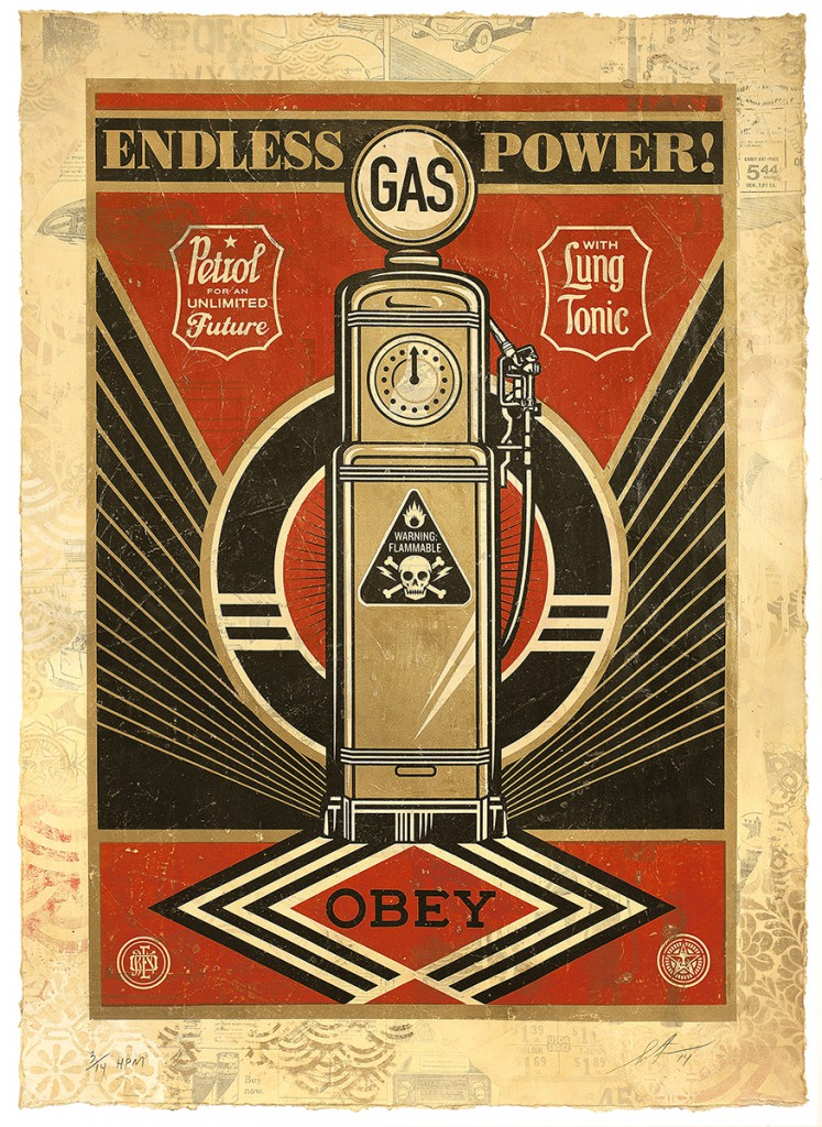 Shepard  Fairey -  <strong>Endless Power</strong> (2014<strong style = 'color:#635a27'></strong>)<bR /> silkscreen and mixed media collage on paper,   35.5 x 25 inches  (90.17 x 63.5 cm),   HPM, edition 4 of 14