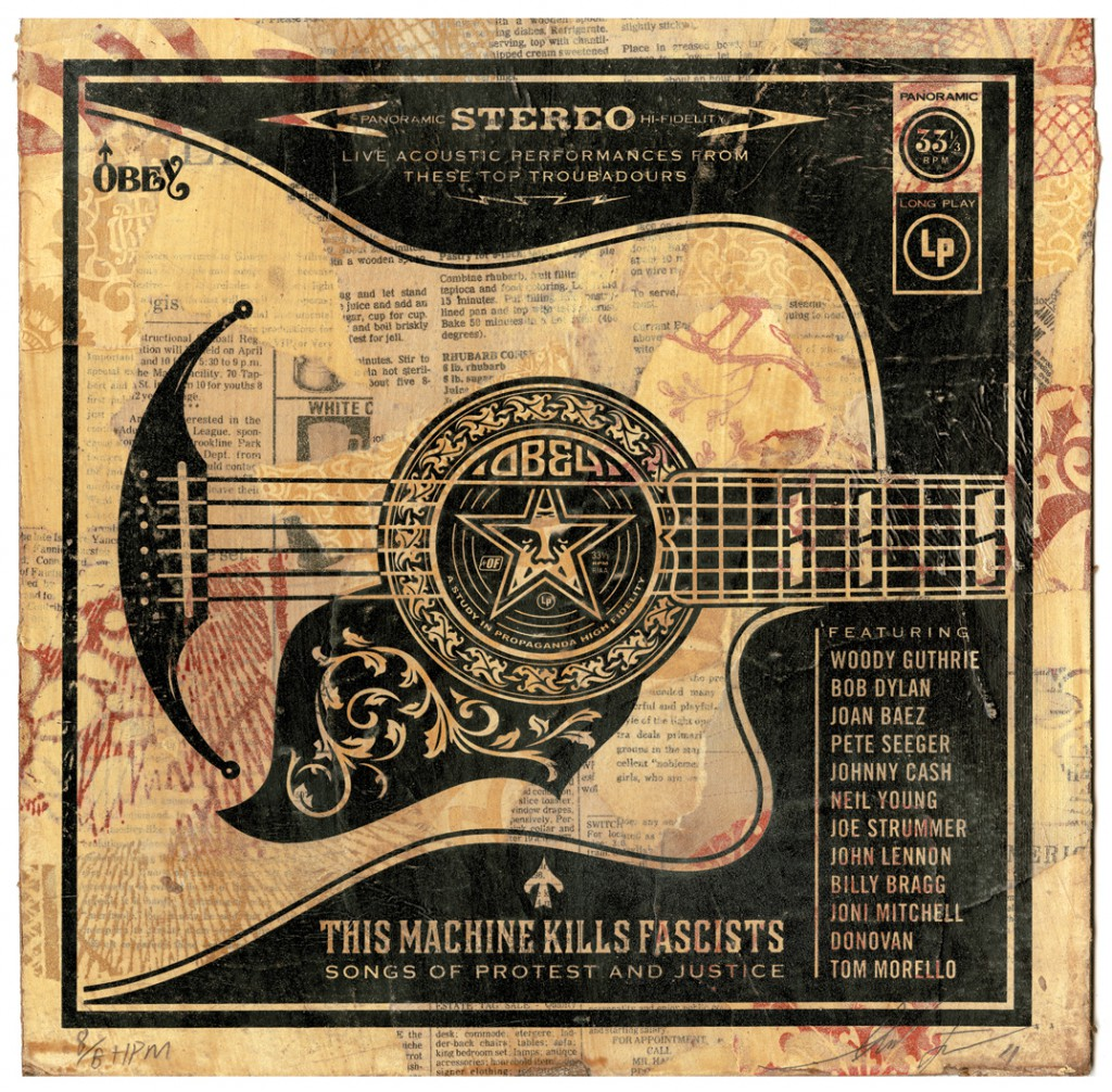 Shepard  Fairey -  <strong>Folk Guitar</strong> (2011<strong style = 'color:#635a27'></strong>)<bR /> Silkscreen and mixed media collage on album cover,   12 x 12 inches  (framed size TBD),   Hand painted multiple (HPM)  Signed and numbered   Edition of 8